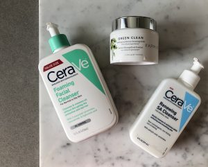cerave cleanser, farmacy green clean